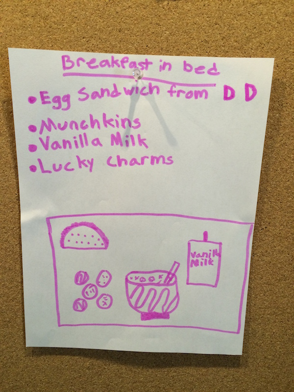 Valentines Day Breakfast in Bed Menu