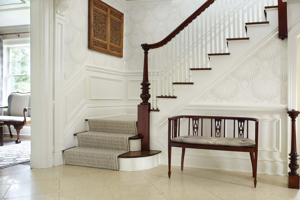 Foyer Entrance with Bench by Stairs