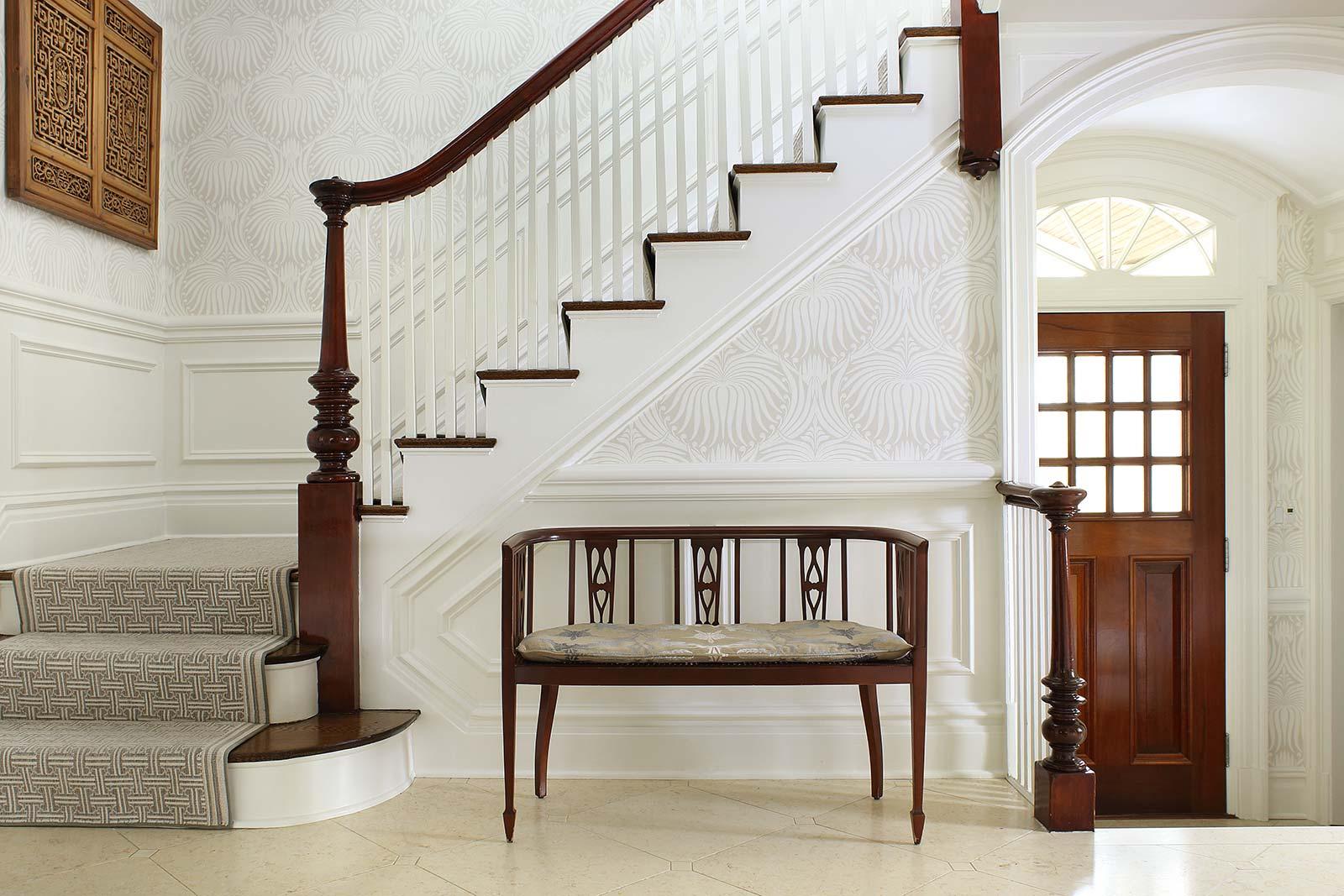 Foyer-Seat-under-stairs-front-door & Foyer-Seat-under-stairs-front-door | Valerie Grant Interiors
