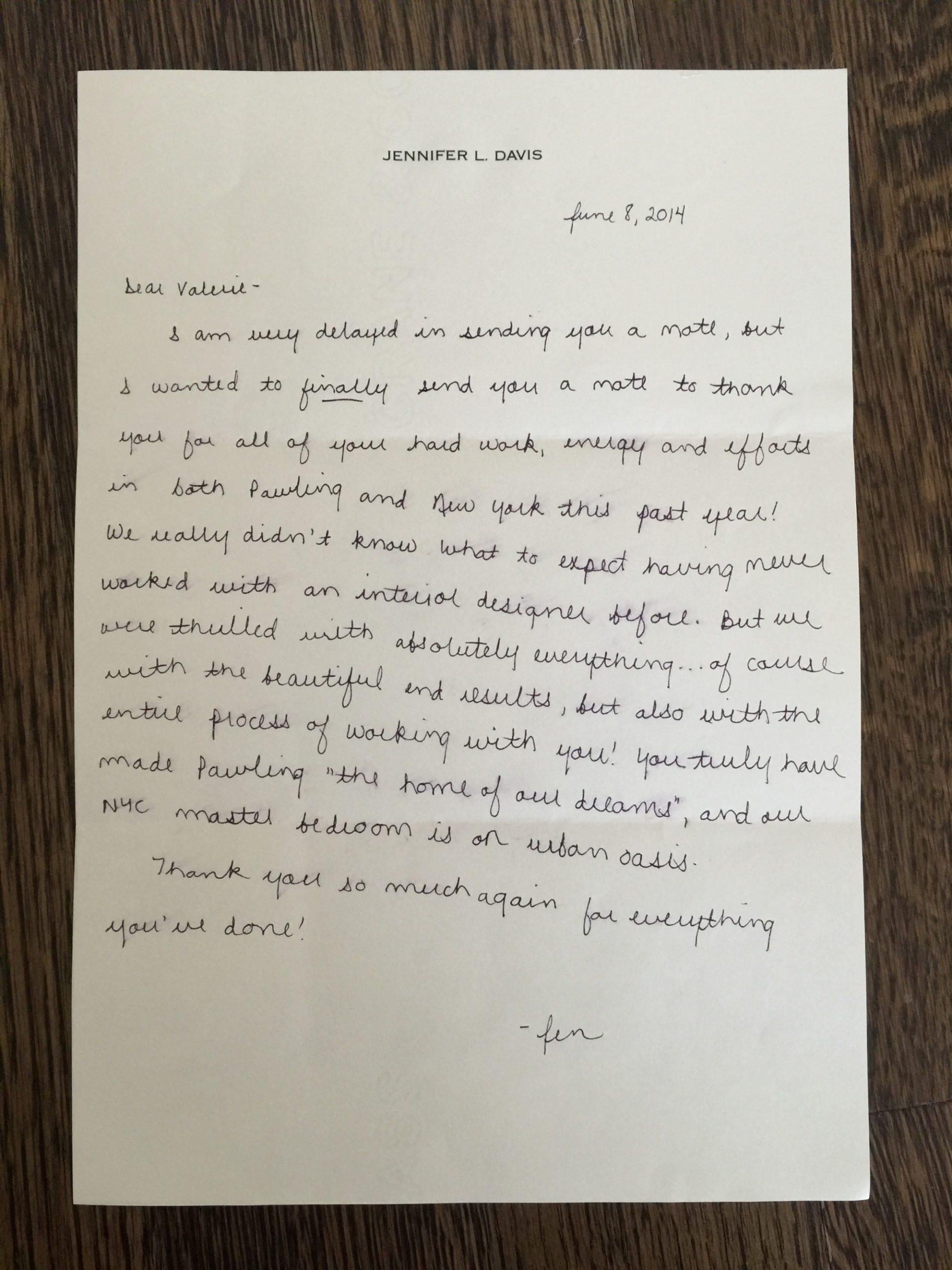 Jennifer Davis Letter