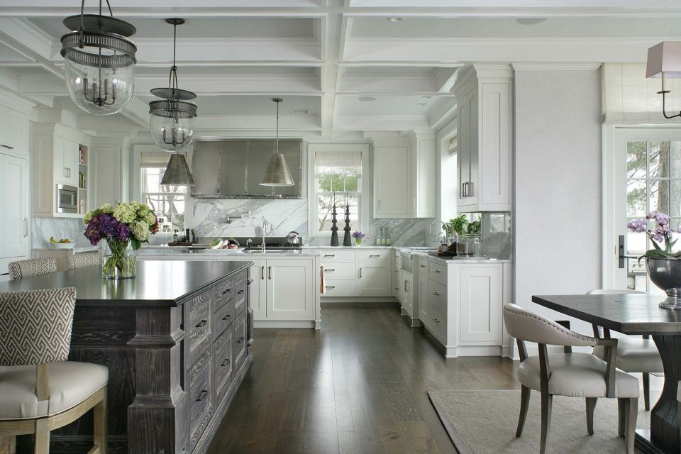 White and Gray Summit NJ Kitchen with Island and Breakfast Nook