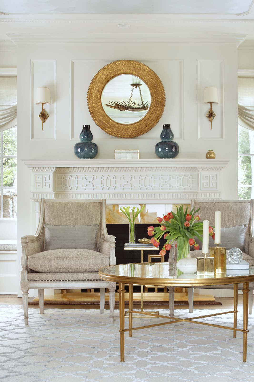 Living-room-fireplace-coffee-table-chairs-mirror | Valerie Grant ...