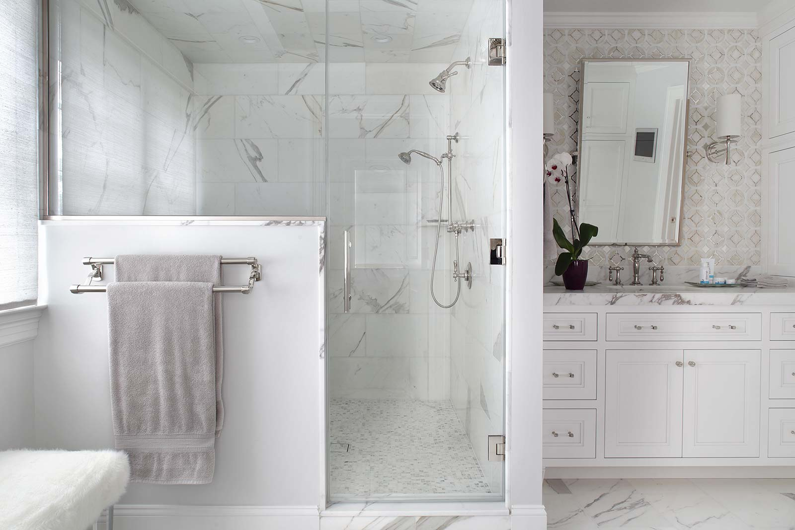 Master-Bath-clean-white-marble-tile-shower-vanity | Valerie Grant ...