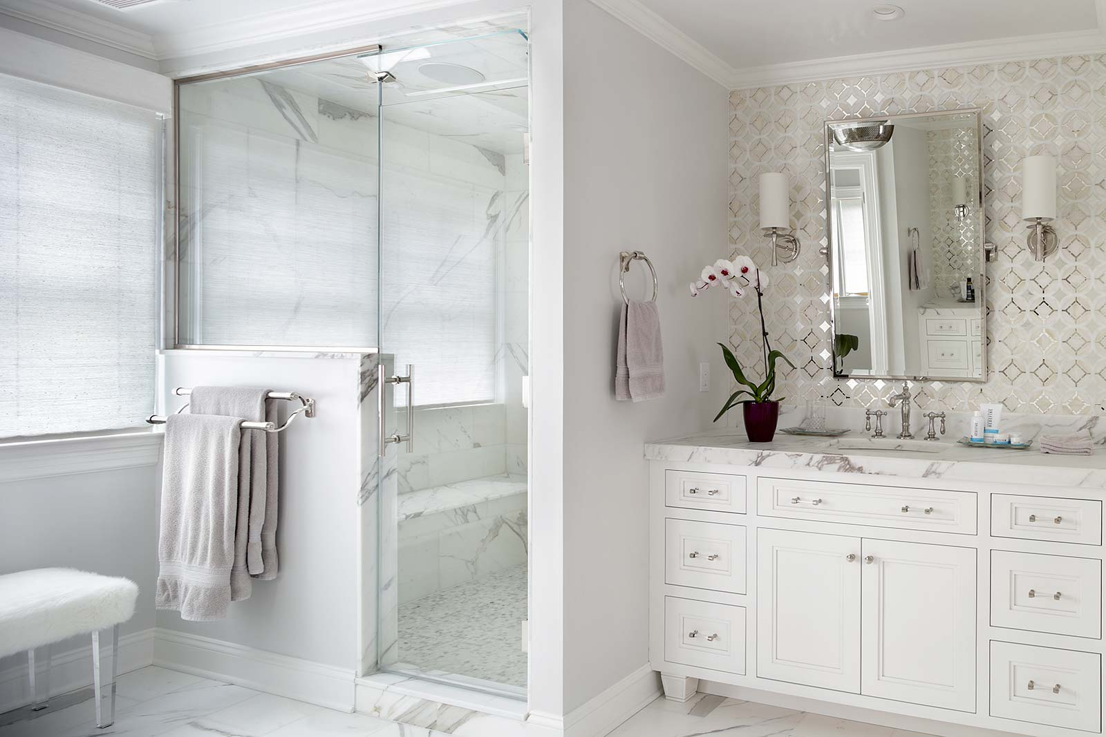Master-Bathroom-with-white-cabinets-tile-shower | Valerie Grant ...