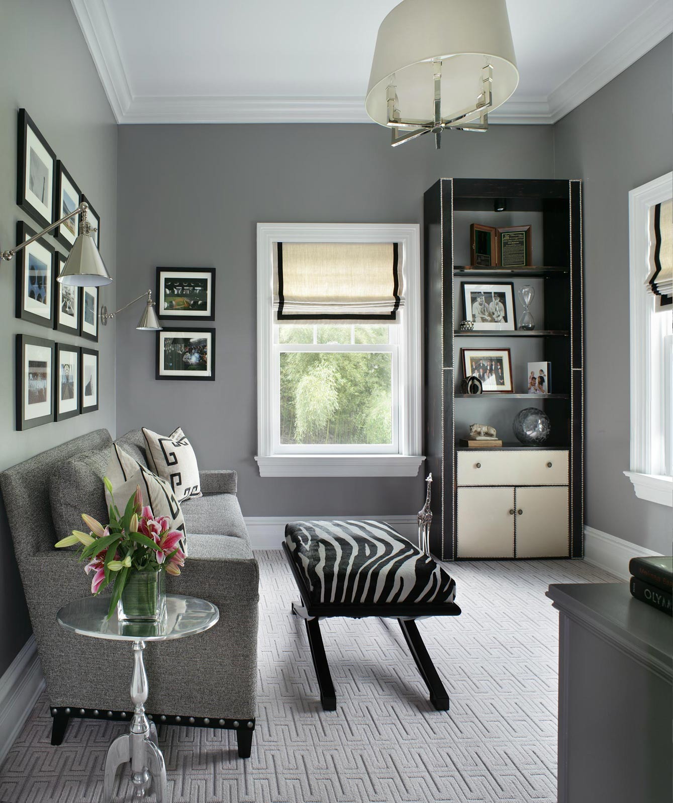 Larchmont, NY Study with Zebra hyde bench by Valerie Grant Interiors