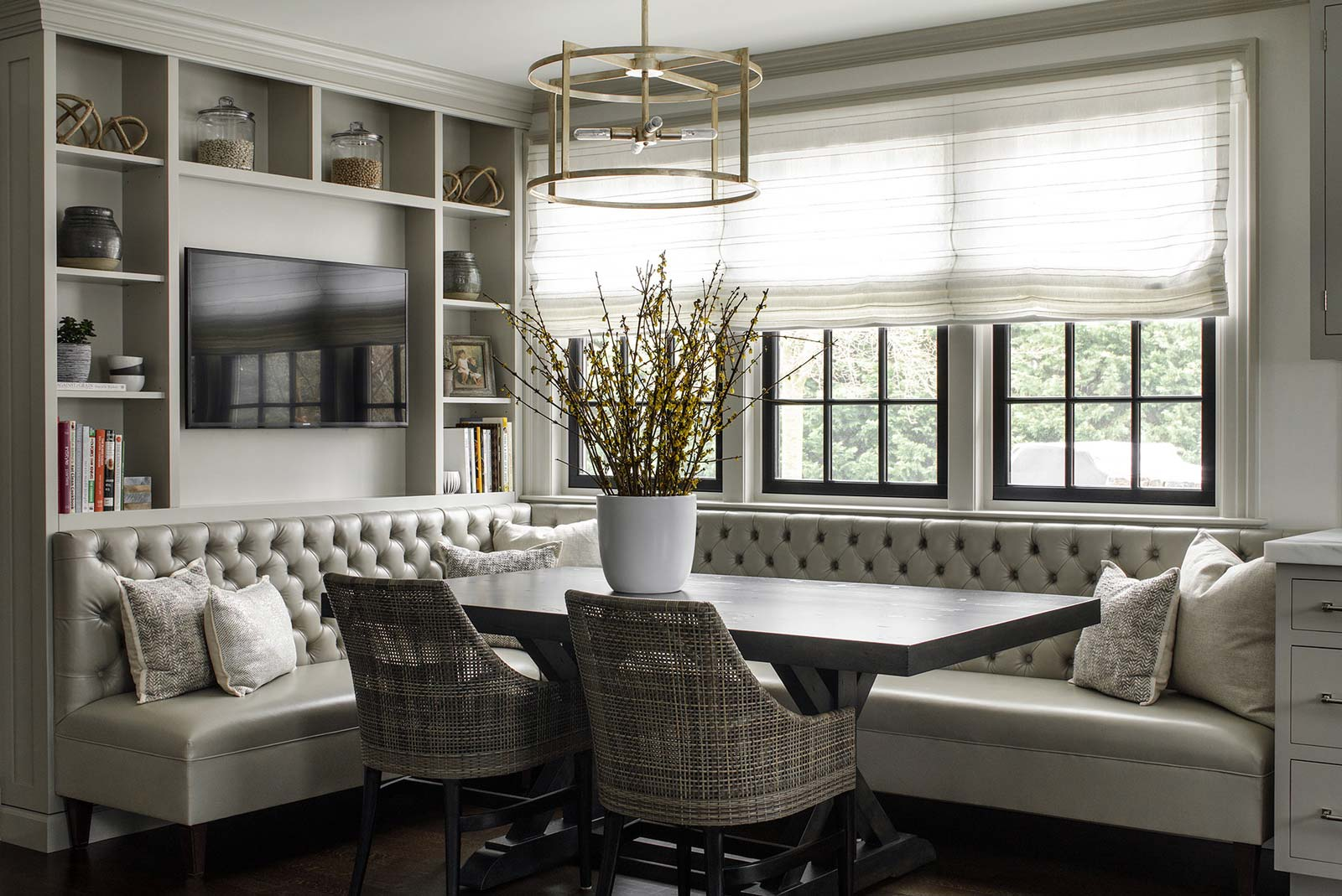 Dining Room Breakfast Nook Table With Bench Seating And Shelving